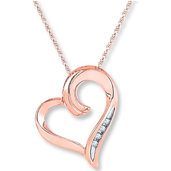 a1626ddf3 Jared The Galleria of Jewelry Jewelry - Jared Heart Necklace Diamond  Accents 10k Rose Gold